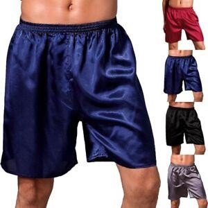 Men's Satin Silk Sleepwear Underwear Boxer Shorts Pants Solid Casual Nightwear