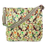 Women's Carton Bird Printed Oilcloth Crossbody messenger bags, multipurpose bags