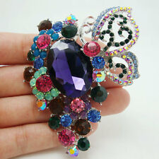 Pin Multi-color Rhinestone Crystal Elegant Butterfly Flower Pendant Brooch