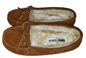 Minnetonka Suede Slippers House Shoes Moccasins Brown 4013 Size 6.5 Hard Sole