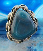 ANNEAU alpaga argent pierre agate bleu de Pérou ETHNO Indien inca maya style 13