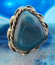 Ring Alpaka Silber Stein Achat blau aus Peru Ethno Indianer Inka Maya Stil 13