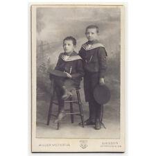 CUTE SCHOOL BOYS sailor suit style  CDV PHOTO c1907 child fashion