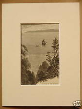 MOUTH OF THE RIVER HUDSON USA ANTIQUE MOUNTED ENGRAVING FROM 1876 PUBLICATION