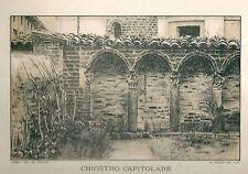 1894 IVREA Canavese Torino Chiostro dei Canonici Duomo Tomatis Litografia