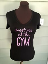 Women's Danskin Top Shirt Athletic S Active Semi Fitted Black MEET ME AT THE GYM