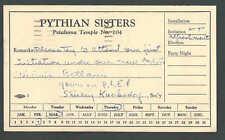 1959 PC Pythian Sisters Message W/Invitation Petaluma Ca