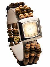 CANNAS:WOMEN'S ANTIQUE LOOK  WOOD STREACH BEADS LINKS ANALOG QUARTZ SQUARE WATCH