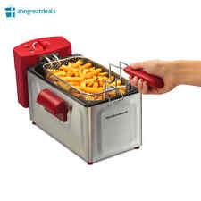 2 Liter Deep Fryer Basket Electric Cooker Kitchen Countertop Stainless Steel RED