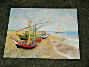 Fishing Boats on the Beach by Vincent Van Gogh 1853-90 Dutch Painter Block Mount