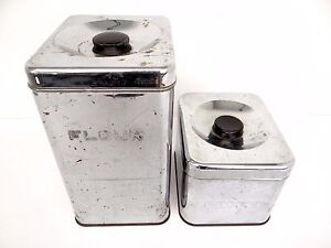 Used Harvell Space Saver Lincoln Beautyware Chrome Kitchen Canisters Containers