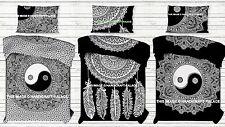 Indian Hippie Mandala Black & White Bed Quilt Duvet Doona Cover Blanket Bohemian