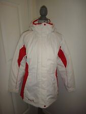 COLUMBIA Womens Winter Water Resistant Puffer Jacket~White Pink~Removable Hood~M