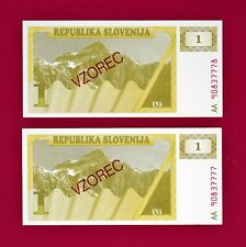 CONSECUTIVE-PARTNER SPECIMEN UNC NOTES: 1 Tolar 1990 SLOVENIA BANKNOTES (Pick-1)