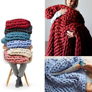 Weiche Decke warme Gestrickte Wolldecke Grob Kuscheldecke Grobstrick Strickdecke