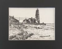 Lynde Point Light Old Saybrook CT - Vintage Art Print, Matted & Ready to Frame!