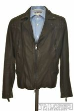 ALL SAINTS Brown Leather Quilted Mens Motocycle Rowley Biker Jacket Coat - SMALL
