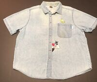Vintage Looney Tunes Sylvester Tweety Stitched Womens DENIM SHIRT Button 90s D19
