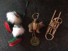 Lot of 3 Rustic Eskimo Lodge Cabin Decor Ornaments Excellent Quality