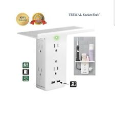 Switch Socket Rack, Outlet Shelf, 6 Electrical Outlet Extenders 2 USB