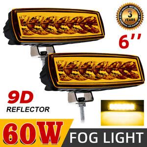 "2PC 6""Inch Flush Mount LED Pods Work Light Bar Spot Flood Driving Offroad SUV 7"""