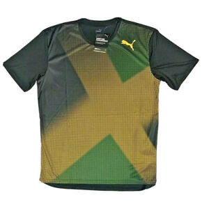 "Puma Country Emblem Tech ""Jamaica"" T-Shirt Black Green Gold [519716 01]"