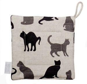 Linen Cotton Kitchen Square Potholder Pot Holder Gift Oven Mitt Black Cats