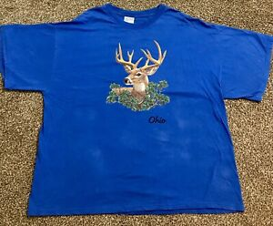 Vintage Ohio Deer Print T-shirt, Size XXL, Blue