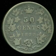 1872H Canada, Queen Victoria V, Sterling Silver Fifty Cent Piece   F252