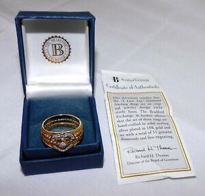 The Bradford Exchange I Love You 18k Sterling Diamond Ring Set NEW Size 10.5