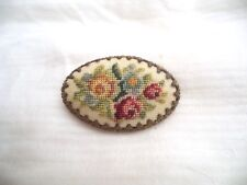 Antique Needlepoint Flower Pin