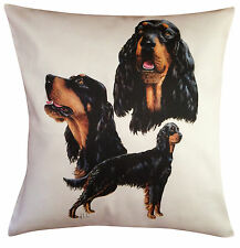 More details for gordon setter group breed of dog themed cotton cushion cover - perfect gift