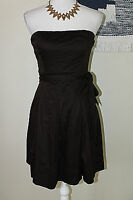 THE LIMITED Womens Size 4 Chocolate Brown Strapless Belted 100% Cotton Dress