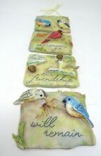 Handmade Ceramic Bird with Flowers Blooming Hanger Decoration 4 Pieces.