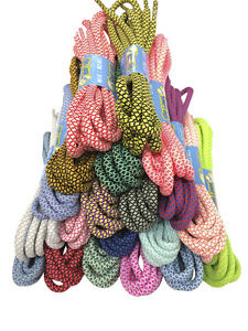 ROUND THICK ROPE STYLE LACES SHOELACES - 5mm wide - 130cm long - 20 COLOURS