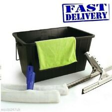 Professional 6 Piece Window Cleaning Kit Wash Bucket Squeegee Yellow Microfibre