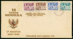 Mayfairstamps INDONESIA FDC 1955 COVER 10 TAHUN MERDEKA COMBO wwm18581