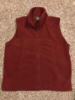 Cabelas Womens L Reg Fleece Dark Red Vest Full Zip A22
