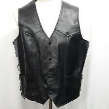 VANGUARD Men's Leather Black Size XL Snap Button Motorcycle Chopper Rider Vest