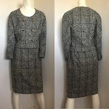 Rare Vintage Chanel Navy White Tweed Skirt Suit 36/38