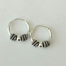 Classic Silver Ball Sterling Silver 925,Hugging Hoop Earrings Oxidized For Women
