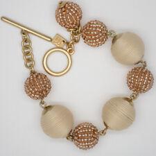 Banana Republic handmade jewelry wrap rope ball bracelet gold tone toggle bangle