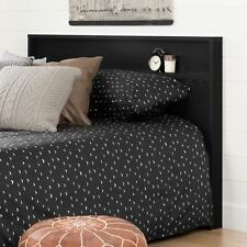 Modern Black Wood Headboard With Storage Shelf For Queen or Full Size Bed
