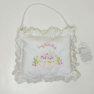 Tooth Fairy Embroidered Pillow, Flowers Basket, White Pink