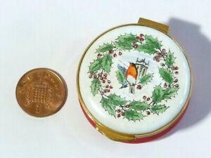 Vintage 1976 Enamel Trinket Box Christmas Holly Robin CRUMMLES Boxed