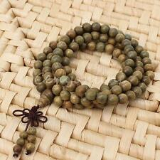 Fragrant Green Sandalwood 108*8mm Buddhist Prayer Beads Mala Necklace/Bracelet
