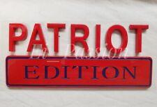 PATRIOT EDITION Red Blue Universal Fit Letters Car Hood Truck logo CUSTOM EMBLEM