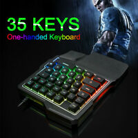 35 Keys Left One-Handed Mechanical Keyboard backlight Gaming Keypad for PUBG