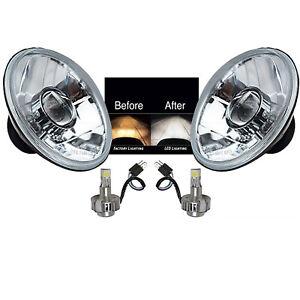 """7"""" Crystal Projector Headlight  SMD COB 360° 6k LED Light Bulb Headlamp Pair"""