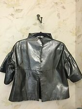 Karen Kane Silver Genuine Leather Cropped Swing Jacket w/ Flared Sleeves